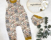 Romper, Baby Pants, French Terry, Size 50-74, Beige Flowers