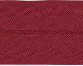 VENO cotton slanted ribbon, garnet-red, folded 60/30, width 3 cm, pre-folded from 6 cm to 3 cm