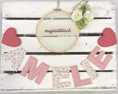 Name chain, letter garland old pink-white