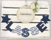Name chain, letter garland blue-white