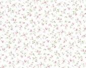 Cotton, Westphalian fabrics, princess, white-pink-green stray flowers