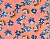 Jersey, salmon, flowers blue/pink/yellow