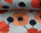 Jersey Nevio, light grey, poppies
