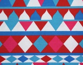 French Terry, Summer Sweat, Blue, Red, Pink, Geometric
