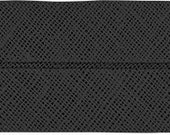 VENO cotton slanted ribbon, black, folded 40/20, width 2 cm, pre-folded from 4 cm to 2 cm