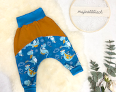 Pump pants, dragon, blue mustard, size 80