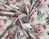Jersey, beige, large flowers pink and white