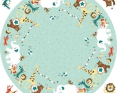 Cotton panel, mint, animals, circle, play blanket, cuddly toys
