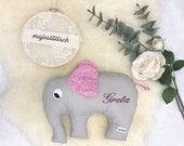 Cuddly elephant, pillow, elephant, grey-pink, with name