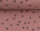 Muslin, Jeron, Double Gauze, Old Pink with Hearts in Grey