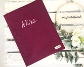 """Certificate folder """"Mira"""" in fabric with embroidery"""