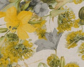 Decorative fabric, canvas, Westphalian fabrics, Panama, beige yellow, flowers