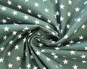 Cotton, dark green, white stars