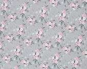Jersey, Theo, Grey, Small Roses in Pink and White
