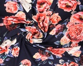 Jersey, dark blue flowers in salmon and white
