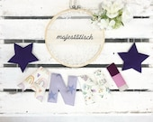 Name chain, letter garland purple-flieder-beige