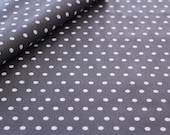 Coated cotton, anthracite, white dots