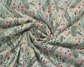 Cotton, white, green, pink, floral