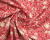 Cotton, red, white, flowers