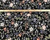Jersey, black, flower vines, lilac, salmon, mint
