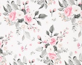 Jersey, Theo, White, Roses in Pink-Grey