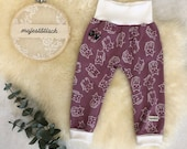 Feel-good pants, berry with cats, Gr, 80