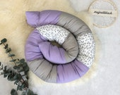 Cuddly roll, bed snake 180 x 11 cm, lilac grey white