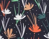 Jersey Nevio, dark blue, flowers/grasses in salmon, white, blue