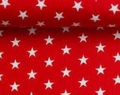 Cotton, red, white stars, 1 cm