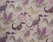 Cotton, beige, purple, dragon