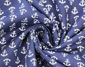 Cotton, dark blue, large white anchors