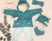 Winter set in turquoise mottled in your desired size