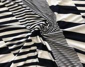 Viscose jersey, Black White Striped Different Large Stripes