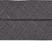 VENO cotton slanted ribbon, anthracite, folded 40/20, width 2 cm, pre-folded from 4 cm to 2 cm