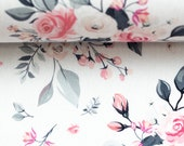 Cotton, Subdina, White, Roses in Pink Grey