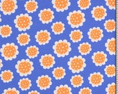 Jersey, blue, flowers white/orange, daisies