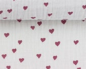 Musselin, Jeron, Double Gauze, white with hearts in old pink
