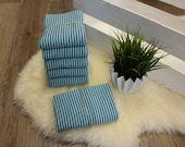 1.00 m cuffs, petrol/light blue striped