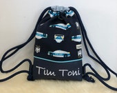 Gym bag, backpack for children with name, police