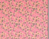 Jersey, salmon, leaves in pink/grey, small patterned