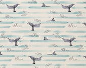 Jersey, White, Blue Striped, Whales, Fin, Ocean