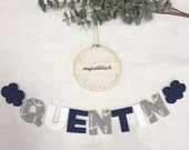 Name chain, letter garland dark blue-grey-white