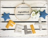 Name chain, letter garland light blue-grey-yellow