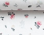 Cotton, Subdina, white, small roses in pink grey