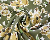 Milli Blu's viscose, olive green, white-colored flowers