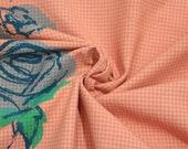 Cotton, pink salmon, plaid, blue roses