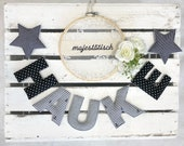 Name chain, letter garland dark grey-grey-white