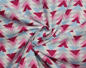 Cotton, white, blue, pink, pink, triangles