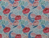 Alpine fleece, Patrick, grey mottled, poppy flower, red-blue
