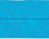 VENO cotton slanted ribbon, turquoise, folded 40/20, width 2 cm, pre-folded from 4 cm to 2 cm